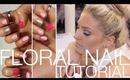 Floral Nail Art ♡ Nail Tutorial ♡ Pink & Glitter Pretty Nails
