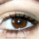 Brown eye make up with white pencil