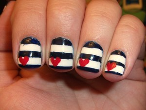 Nautical Heart Nails- http://polishmeplease.wordpress.com