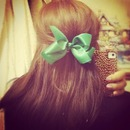 brown and green bow