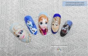 http://saranail.blogspot.kr/2014/02/frozen-nail-art-anna-elsa-olaf-kristoff.html