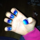 Navy & light blue 2 colour polish