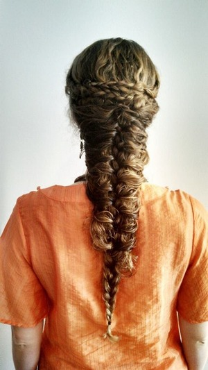 "This is my first mermaid braid that I pinned up more to have a more ""cage"" effect"