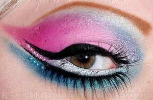 Eye makeup inspired by Barbie colors.