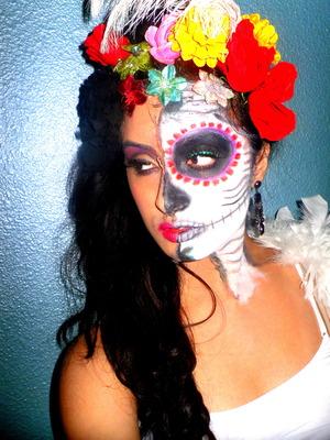 La Catrina Inspired Half sugar skull makeup
