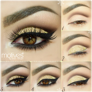 INSTAGRAM @auroramakeup  Products MOTIVESCOSMETICS avalilable in :  http://www.motivescosmetics.com/  and  http://global.shop.com/  STEP1. // PASO1. Apply Eye Shadow Base  Draw your socket line with Khol Eyeliner in COFFEE , blend it out and set it with Pressed Eye Shadow in HOT CHOCOLATE. Aplica la Prebase de Sombras Dibuja la linea del globo ocular con el delineador cafe oscuro COFFE , sella y difuminalo con la sombra cafe oscuro HOT CHOCOLATE   STEP2. // PASO2. Draw a line where will be your black eyeliner with same Khol Eyelier in COFFEE, then cover your mobile eyelid with Glitter Adhesive and press down   Glitter Pot in POT OF GOLD Dibuja la linea donde ira el delineador negro por debajo , despues cubre el parpado movil con el Glitter Adhesive y encima aplica los brillos dorados POT Of GOLD   STEP3. Line your top lashes with Gel Eyeliner in LITTLe BLACK DRESS , curl your  lashes & apply mascara . Use Pressed Eye Shadow in CAPPUCCINO as transition color on the crease Delinea las pestañas superiores con el gel delineador negro LITTLE BLACK DRESS , riza las pestañas aplica mascara . Usa como color de transition la sombra cafe claro mate CAPPUCINO    STEP4. Line you waterliner with Khol eyeliner in ONIX , then set & pull out the color with Pressed Eye Shadow in ONIX and smooth out the intensity with Pressed Eye Shadow in HOT CHOCOLATE  Delinea la linea de agua con el delineador negro ONIX , sella y empuja el color hacia afuera con las sombra negra mate ONIX y suaviza las orillas con la sombra cafe oscuro HOT CHOCOLATE    STEP5. Highlight brow bone with Pressed Eye Shadow in Whipped Cream and inner corner with Pressed Eye Shadow in PEARL. Add false lashes and apply Mineral Volumizing & Lengthening mascara in BLACK in top & lower lashes . Ilumina el hueso de la ceja con la sombra nacarada WHIPPED CREAM y el lagrimal con la sombra blanca PEARL . Agrega pestañas postizas y aplica la mascara negra de pestañas Volumizante y alargadora BLACK     False lashes are PIXIE LUXE by @houseoflashes Pestañas Postizas PIXIE LUXE de http://www.houseoflashes.com  Brows : Brow Pro Palete by @anastasiabeverlyhills Cejas con la paleta BROW PRO PALETTE de  http://www.anastasia.net