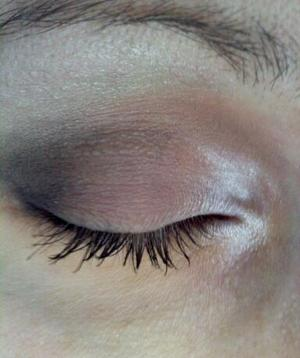 """Please excuse the skittish & quick application - it was my first time with this palate, plus I was in a rush! I do love the colors though, so I wanted to share. It's the Bare Escentuals bareMinerals READY Eyeshadow 4.0  in """"The Afterparty""""."""
