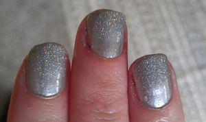 """Christmas/NYE nails....I used China Glaze's """"Platinim Silver"""" and Super Nail """"Silver Rush"""" nail glitter."""