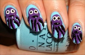 Octopus Nails Nail tutorial & more photos here: http://www.swatchandlearn.com/nail-art-tutorial-octopus-nails/