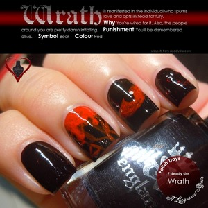 Wrath, interpreted with a england Lancelot, loose hex glitters and red acrylic paint.