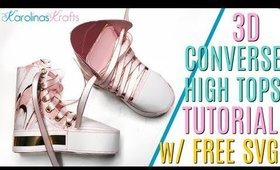 3D Paper Crafts ft a Look Alike HIGH TOPS Converse Shoe Process with a FREE 3D Converse SVG file!
