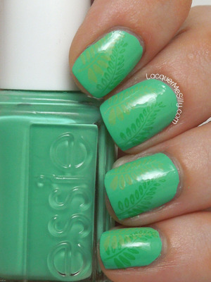 Leafy green mani using a medley of Essie shades. For more information please visit my blog post: http://www.lacquermesilly.com/2013/07/01/green-medley/