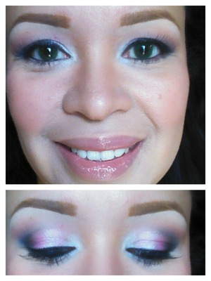 Products used: ELF shadow palette, Andrea Lashlites, Bare Minerals Moxie in Rebel, NYX jumbo pencil in Milk