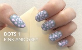 Easy nail art: Dots pink and grey