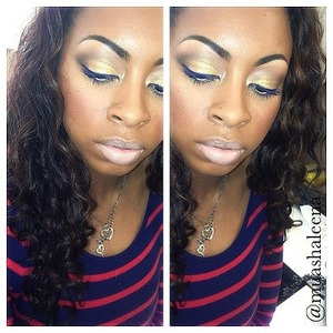 mac old gold pigment on lid, with occ royal blue pigment as an eyeliner, with nyx jumbo milk pencil on waterline