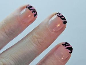 Pink Animal Print French Tip Nails