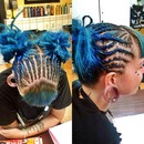 blue hair half head braid