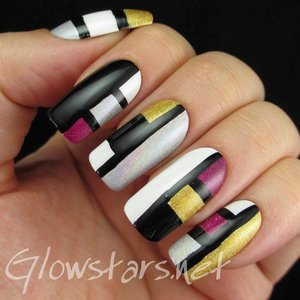 Read the blog post at http://glowstars.net/lacquer-obsession/2014/10/holographic-colour-blocking/
