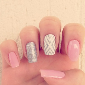 Geometric Pink and Glitter Nails