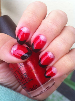 Half Moon French nails in red