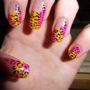 Yello & Pink Leopard Print Nails
