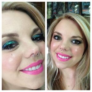 Lit cosmetics glitter shadow in magic dragon and Mac lipstick in candy yum yum 💚