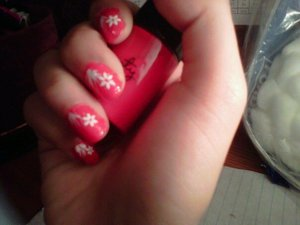 """Red nail polish- Forever 21 Love and Beauty -""""coral"""" Flowers- nail art stickers Jordana Nail art Striper"""