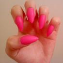 Matte hot pink nails