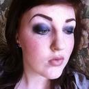 Dark blue smokey eyes