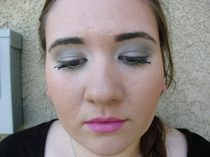a silver, gray, green look i created. with a pink lip