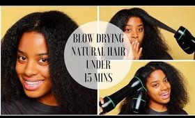Quickest Blow Out EVER on Natural Hair UNDER 15 MINUETES!!! | How to