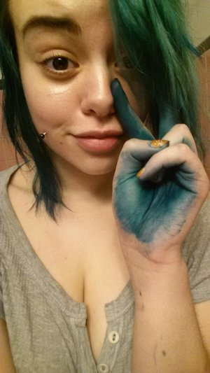 """What are gloves?    Dye used: Splat in """"Deep Emerald""""  P.s I hate this stuff."""