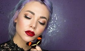 Dewy Skin Glitter eyes and Ombre lips for Valentines day