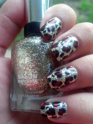 Gold and Red Leopard Print