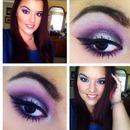 Purple bombshell glittery smoky eye