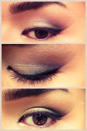 A simple cat eye liner with a dramatic smoky crease.
