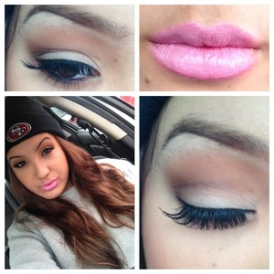 All MAC eyeshadows on the eyes and LimeCrime's Great Pink Planet on the lips.