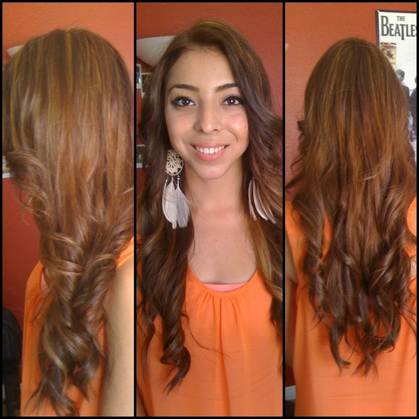 Haircolor Light Golden Brown With High Lights And Low