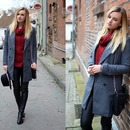 Chunky Cable Knit Turtleneck Claret-red Jumper