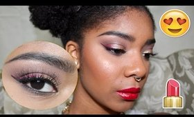 Valentine's Day Makeup 💞 Gold-Pink Ombre Liner and Glossy Red Lips || Zaji-Kali