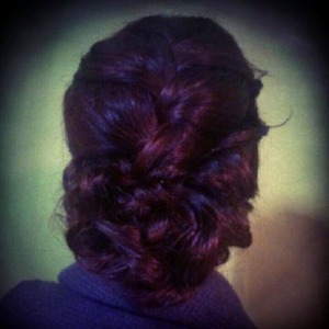 Braided updo I did on my friend for her birthday