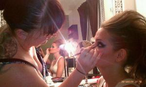 doing jess's makeup and hair....(we had been drinking quite a bit  lol)