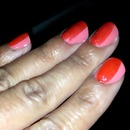 coral stripe nails