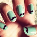 Green Mustache Nails