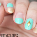 Turquoise & Gold Edgy Negative Space With Stud Accent