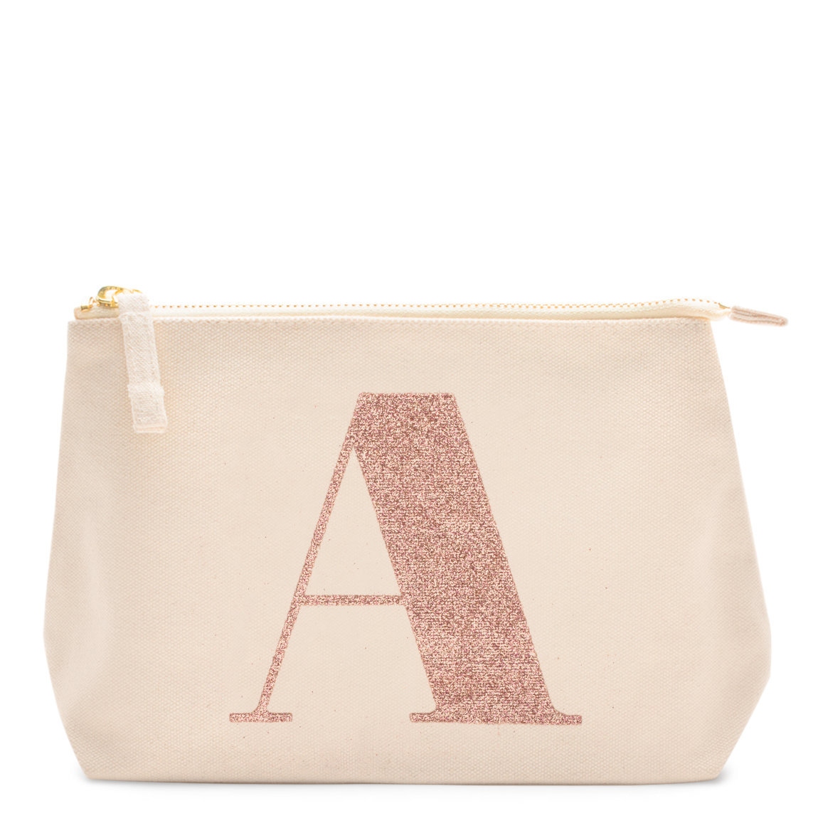 Alphabet Bags Rose Gold Glitter Initial Makeup Bag Letter A product smear.