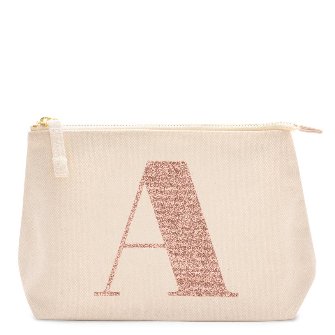 alphabet bags rose gold glitter initial makeup bag letter a beautylish