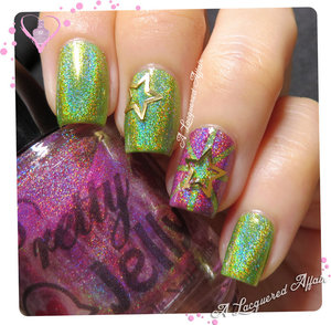 Holographic polishes by Pretty Jelly; Psithurisma and Floweret, from the Spring/ Summer 2014 collection in a striping tape nail art, with metallic star decals.  More swatches and review of the 2 polishes on the blog: http://www.alacqueredaffair.com/Pretty-Jelly-Floweret-Psithurisma-34713338