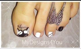 Black & White Hearts Toenail Art Design | Pedicure Tutorial ♥