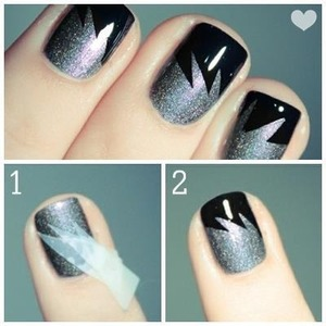 Black & Silver Nail Tape Nail Art